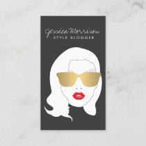 Hair Salon, Style Blogger, Beauty Girl Dark Gray Business Card