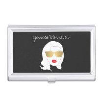 Hair Salon, Style Blogger, Beauty Girl Dark Gray Business Card Holder