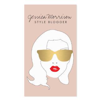 Hair salon style blogger beauty girl on peach business cards