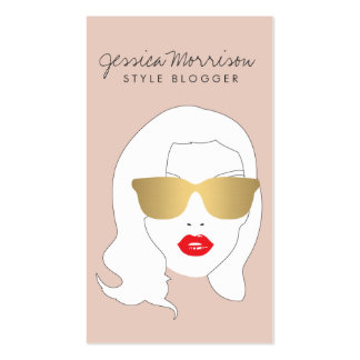 Hair Salon, Style Blogger, Beauty Girl on Peach Double-Sided Standard Business Cards (Pack Of 100)