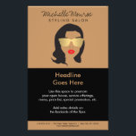 """Hair Salon, Stylist, Beauty Girl II Flyer<br><div class=""""desc"""">Coordinates with the Hair Salon,  Stylist,  Beauty Girl Business Card Template by 1201AM. A bold,  black and tan illustration of a girl with red lips and gold sunglasses becomes an eye-catching mascot on this stylish flyer template. Illustration and design &#169;&#160;1201AM CREATIVE</div>"""