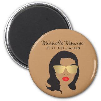 Hair Salon, Stylist, Beauty Girl II Round Magnet
