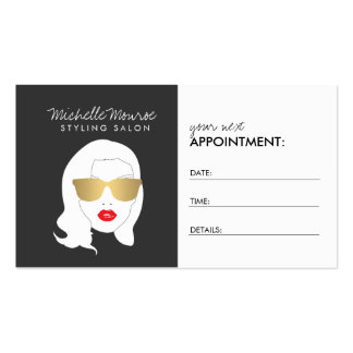 Hair Salon, Stylist, Beauty Girl III Appointment Double-Sided Standard Business Cards (Pack Of 100)