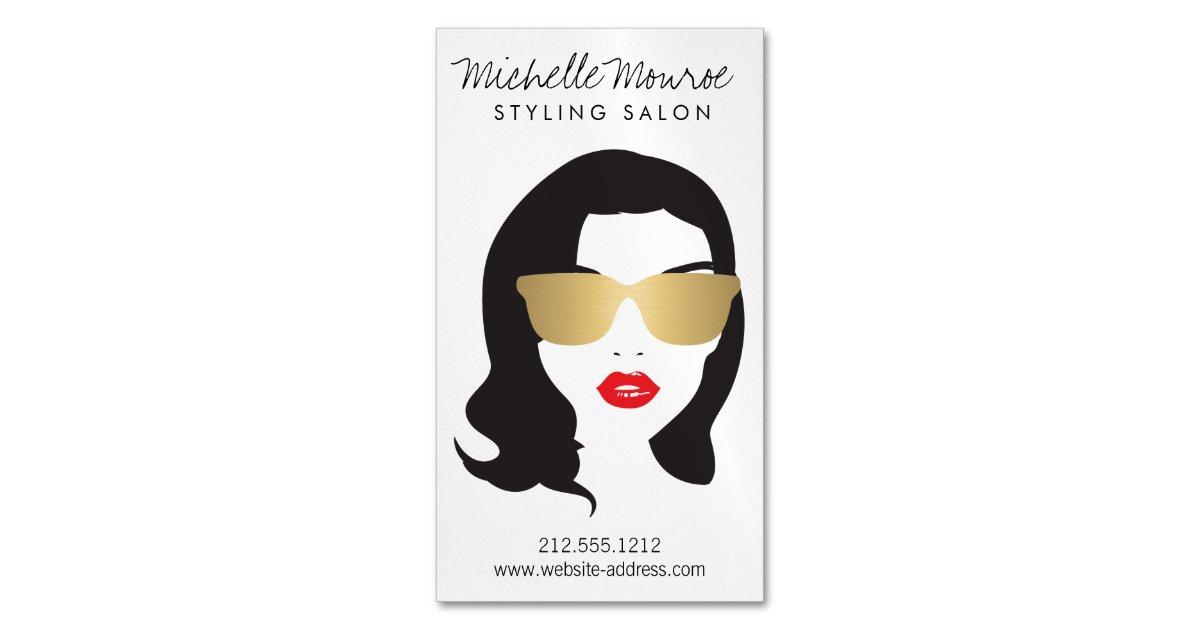 Hair Salon, Stylist, Beauty Girl Magnetic Business Card   Zazzle.com