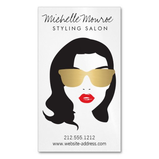 Hair Salon, Stylist, Beauty Girl Magnetic Business Cards (pack Of 25)