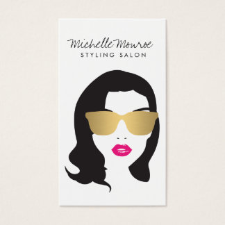 Hair Salon, Stylist, Beauty Girl Pink Lips Business Card