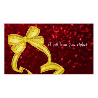 Hair salon stylist holiday coupon gift card xmas business card