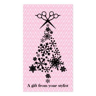 Hair salon stylist holiday coupon gift card xmas business card template
