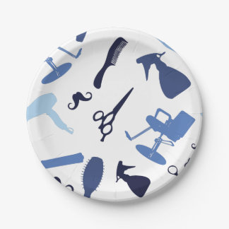 Hair salon tools pattern paper plate