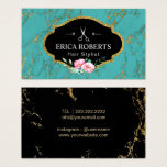 Hair Salon Vintage Floral Turquoise & Gold Marble Business Card