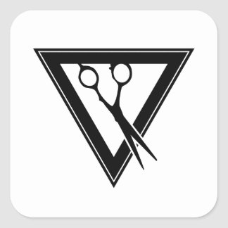 hair scissors triangle square sticker
