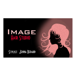 Hair Studio Business Card Red Pink Black