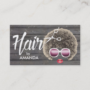 Natural hair business cards zazzle hair stylist african american natural hair wood business card colourmoves
