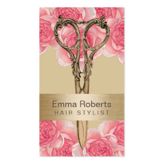 Hair Stylist Antique Scissor Cream & Pink Floral Business Card