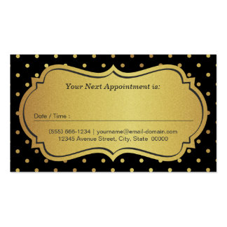 Hair Stylist Appointment - Black Gold Glitter Dots Business Card