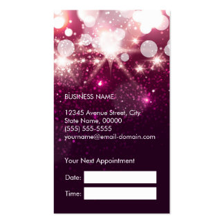 Hair Stylist Appointment Card Pink Glitter Sparkle Business Cards