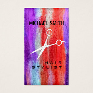 Hair Stylist Appointment Colorful Modern Wood #10 Business Card