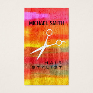 Hair Stylist Appointment Colorful Modern Wood #11 Business Card