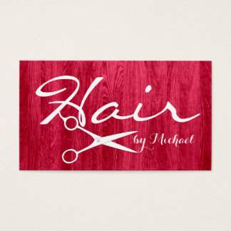 Hair Stylist Appointment Modern Red Wood Grain #3 Business Card