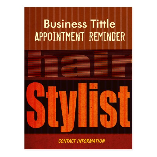 Hair Stylist Appointment Reminder Post Card