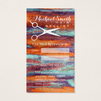 Hair Stylist Appointment Retro Color Wood #3 Business Card