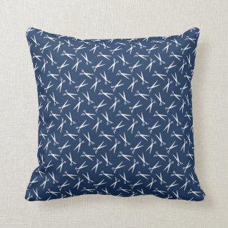 Hair Stylist Barber Shop Scissor Pattern Navy Blue Throw Pillow