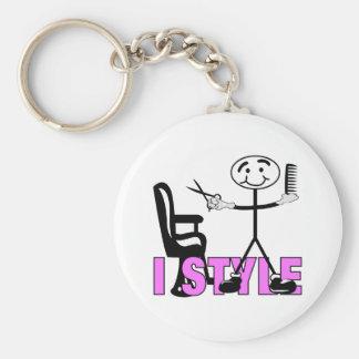 Hair Stylist Basic Round Button Keychain