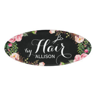 Hair Stylist Beauty Salon Beautiful Floral Around Name Tag