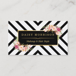 Hair salon business cards templates zazzle hair stylist beauty salon gold floral appointment reheart Image collections