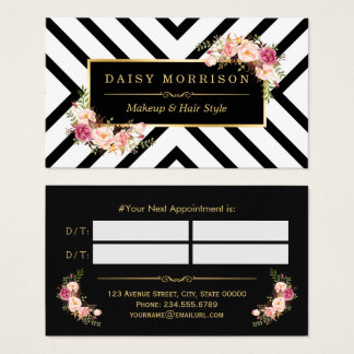 Hair Stylist Beauty Salon Gold Floral Appointment Business Card