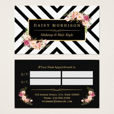 CardHunter Hair Stylist Beauty Salon Gold Floral Appointment Business Card
