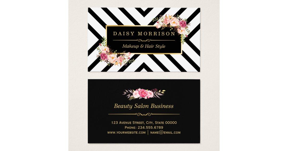 cards hair stylist beauty salon gold vintage floral business card ...