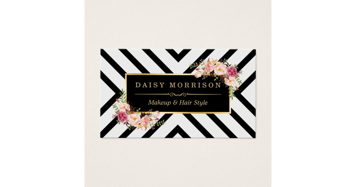 Hair Stylist Beauty Salon Gold Vintage Floral Business Card ...