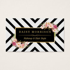 Hair Stylist Beauty Salon Gold Vintage Floral Business Card at Zazzle