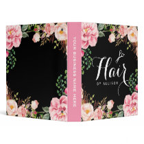 Hair Stylist Beauty Salon Romantic Pink Floral Binder
