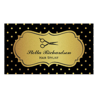 Hair Stylist - Black and Gold Glitter Polka Dots Business Card
