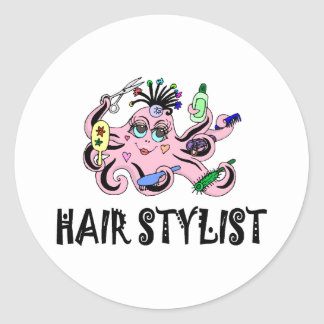 Hair Stylist Black and Pink Octopus Classic Round Sticker