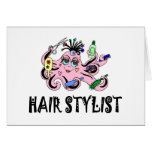 Hair Stylist Black and Pink Octopus Greeting Cards
