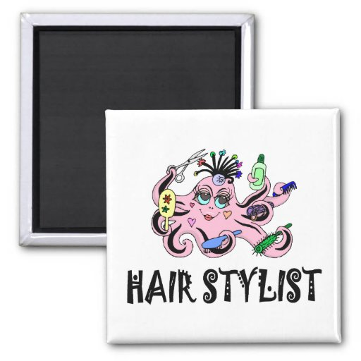 Hair Stylist Black and Pink Octopus Magnet