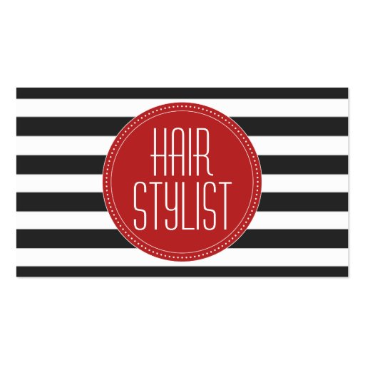 Hair Stylist Black and White Stripes Business Card