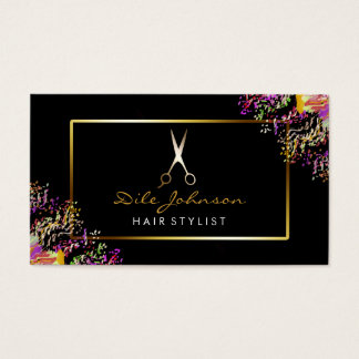 Hair Stylist Black Gold Glitter Saloon Watercolor Business Card