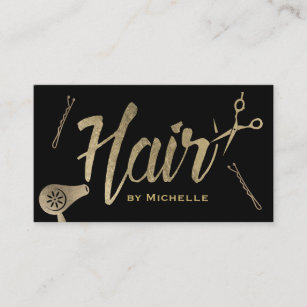 Hair salon business cards templates zazzle hair stylist black gold typography beauty salon business card colourmoves