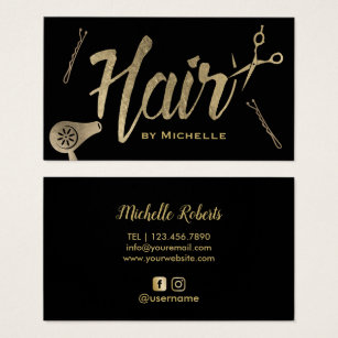 Hair and beauty business cards templates zazzle hair stylist black gold typography beauty salon business card colourmoves Choice Image