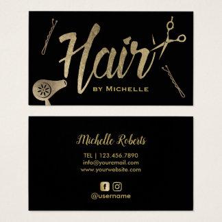 Hair Stylist Black & Gold Typography Beauty Salon Business Card