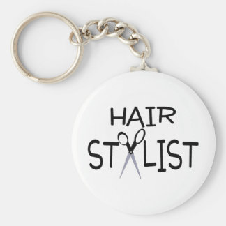 Hair Stylist Black With Scissors Keychain