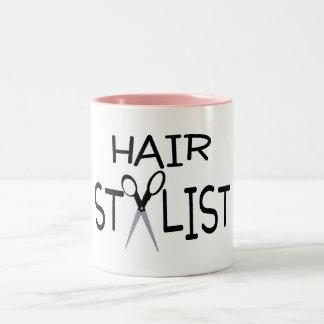 Hair Stylist Black With Scissors Two-Tone Coffee Mug