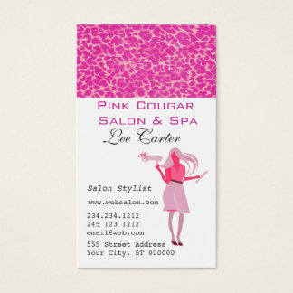 Hair Stylist & Blow Dryer Pink Cougar Beauty Girl Business Card