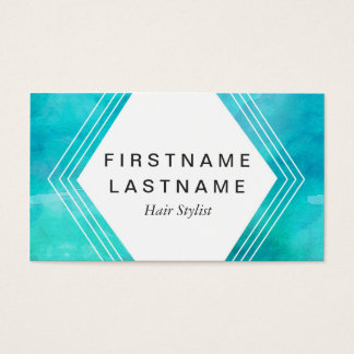 Hair Stylist Blue Water Color Business Card