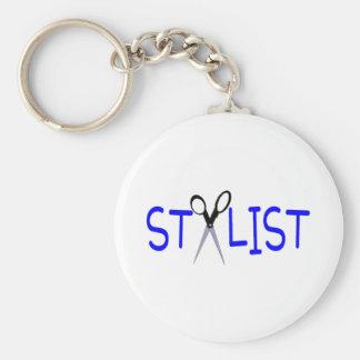 Hair Stylist Blue with Scissors Basic Round Button Keychain