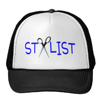 Hair Stylist Blue with Scissors Trucker Hat